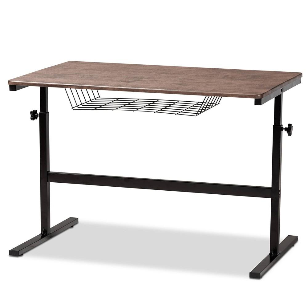 Anisa Wood And Metal Height Adjustable Desk Walnut Black Baxton Studio
