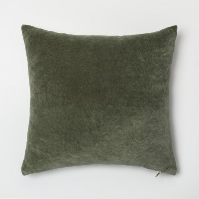 Velvet With Exposed Zipper Square Throw Pillow Light Green - Project 62™