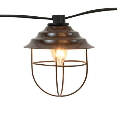 10 Lights Metal Up Lid Electric Café String Lights Bronze