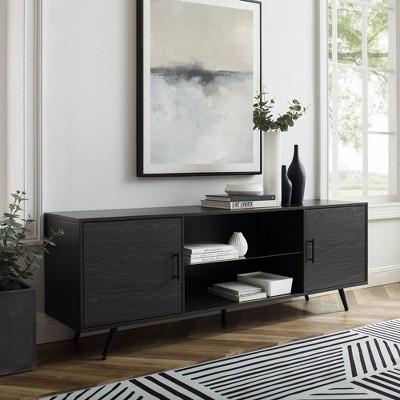 "Thomas Modern Wood and Glass Shelf 2 Door TV Stand for TVs up to 80"" - Saracina Home"