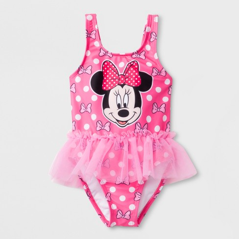 216cc8202 Baby Girls' Disney Mickey Mouse & Friends Minnie Mouse One Piece Swimsuit -  Pink