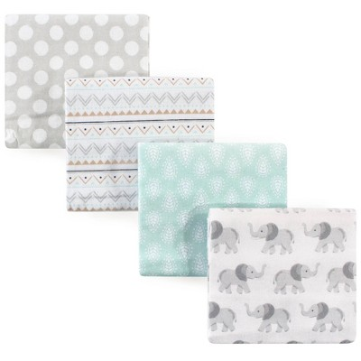 Hudson Baby Unisex Baby Cotton Flannel Receiving Blanket - Gray Elephant One Size