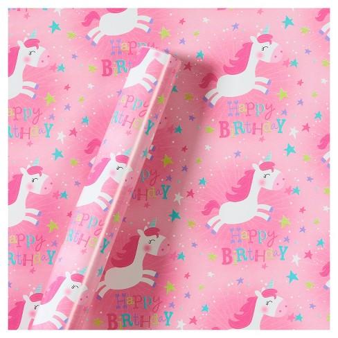 Roll Wrap Unicorns Birthday - Spritz™ - image 1 of 1