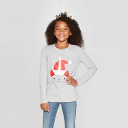 Girls' Long Sleeve Unicorn Cat Graphic T-Shirt - Cat & Jack™ Gray