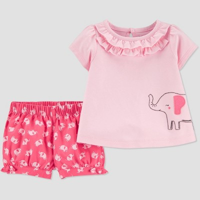 Baby Girls' 2pc Elephant Top & Bottom Set - Just One You® made by carter's Pink 12M