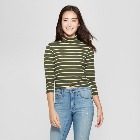671981859a45f6 Women s Striped Long Sleeve Turtleneck Tulip Hem Top - Soul Cake (Juniors )  Olive Ivory