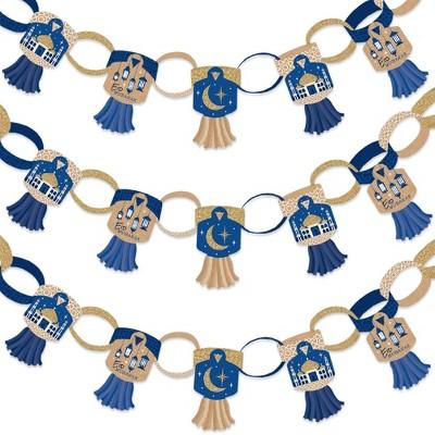 Big Dot of Happiness Ramadan - 90 Chain Links and 30 Paper Tassels Decoration Kit - Eid Mubarak Paper Chains Garland - 21 feet