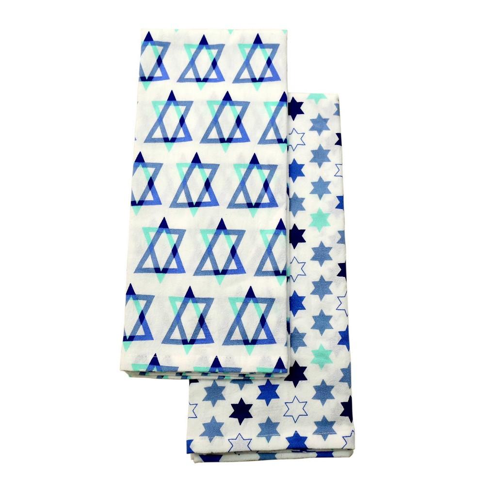 Image of 2pk Hanukkah Kitchen Towel Star Of David, Purple