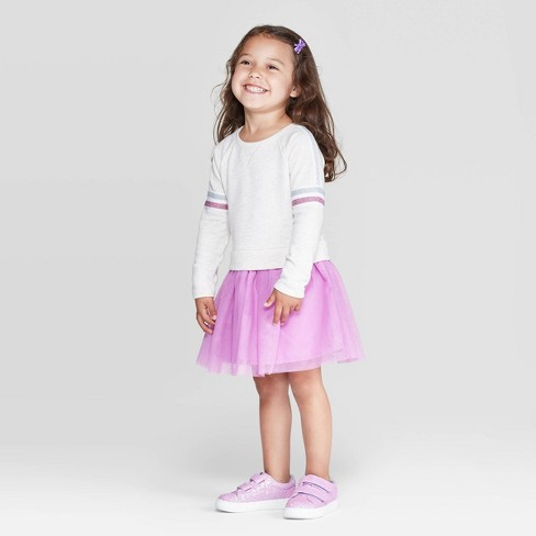 Toddler Girls' Long Sleeve Sweatshirt Tulle Dress - Cat & Jack™ Beige/Purple - image 1 of 3