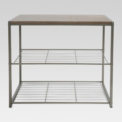 3 Tier Shoe Rack with Rustic Oak Finish Top  Gray Metal - Threshold™ - image 1 of 3