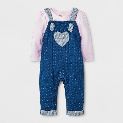 Baby Girls' Long Sleeve T-Shirt and Denim Overall Set - Cat & Jack™ Pink 3-6M