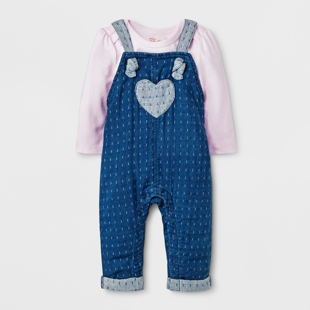 Baby Girls' Long Sleeve T-Shirt and Denim Overall Set - Cat & Jack Pink 18M