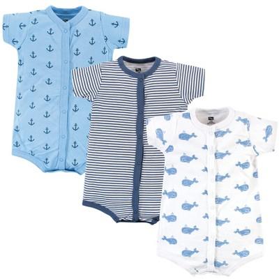 Hudson Baby Infant Boy Cotton Rompers 3pk, Blue Whale