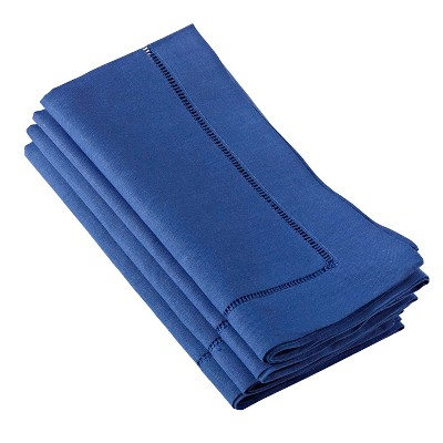 Hemstitched Dinner Napkins Cobalt Blue (Set of 4)