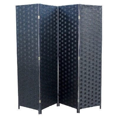 "4 Panel Paper Straw Weave Screen on 2"" Legs Black - Ore International"