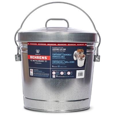 Behrens 6gal Galvanized Steel Locking Lid Storage Can Silver