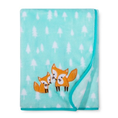 Plush Appliqued Blanket Foxes - Cloud Island™ - Mint