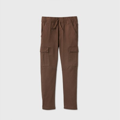 Boys' Stretch Pull-On Cargo Jogger Fit Pants - Cat & Jack™ Dark Brown