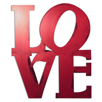 Letter2Word Hand Painted LOVE 3D Wall Sculpture - Red