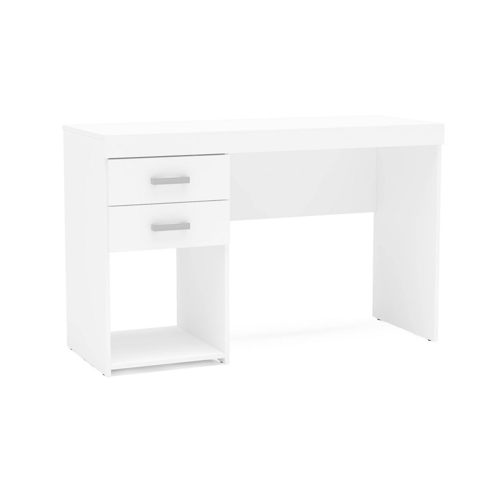 The Prospect desk is a highly functional home office desk made from resistant Melamine on MDP (Medium Density Particle board), with two drawers and a cubby hole for larger files or items. Whether it be used as a home office work station or a student desk, the Prospect desk is a perfect fit in any home. Gender: unisex.