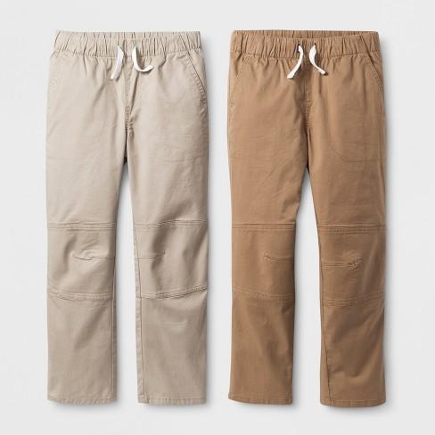 Boys' 2pk Pull-On Pants - Cat & Jack™ Beige/Brown - image 1 of 2