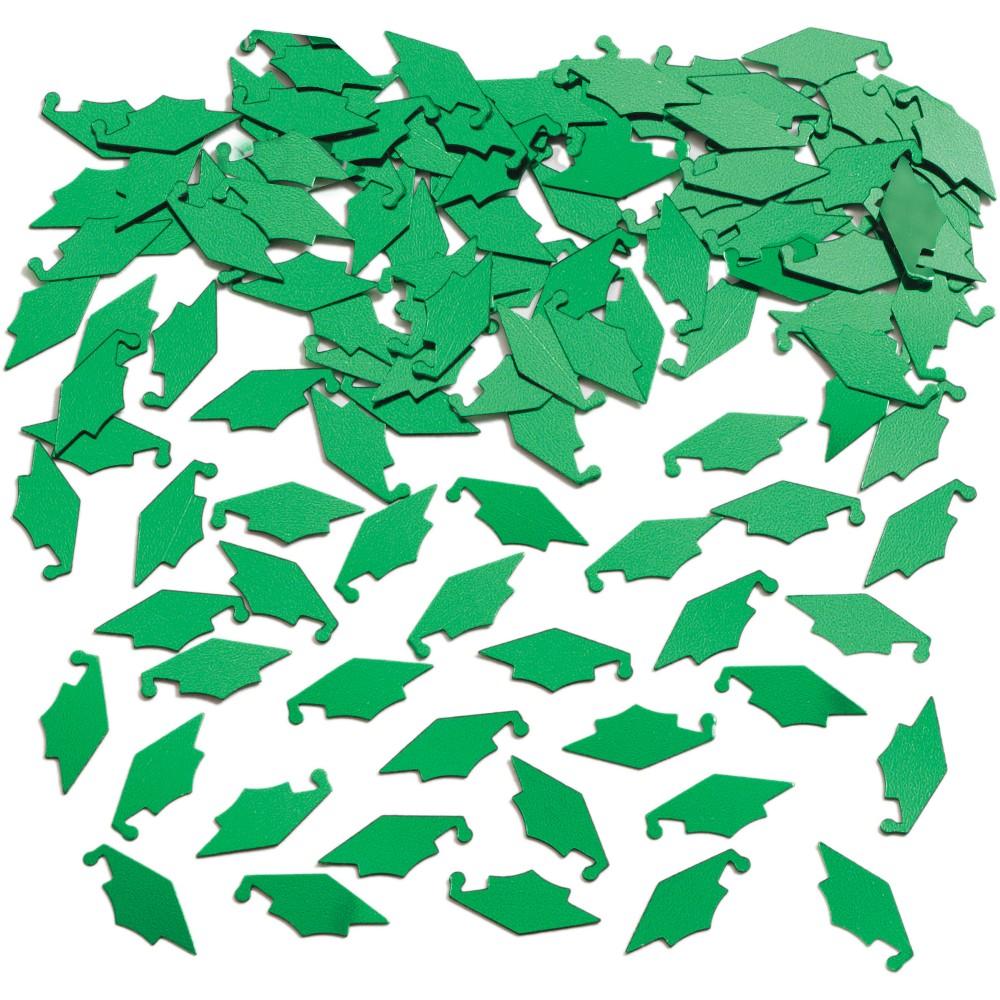 Image of Graduation Mortarboard Green Confetti