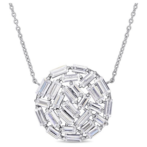 "3.25 CT. T.W. Baguette Cubic Zirconia Mosaic Circle Necklace in Sterling Silver - (18"") - image 1 of 2"