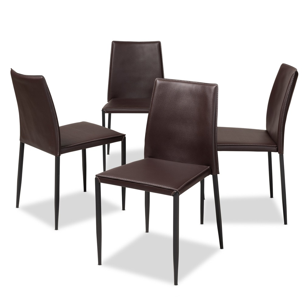 Pascha Modern and Contemporary Faux Leather Upholstered Dining Chairs Set of 4 Dark Brown - Baxton Studio