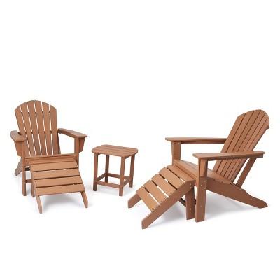 5pk Plastic Resin Adirondack Chair with Side Table & Ottoman - Brown - EDYO LIVING