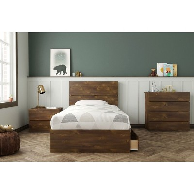 Twin Ribicon Platform Bed Set Truffle - Nexera