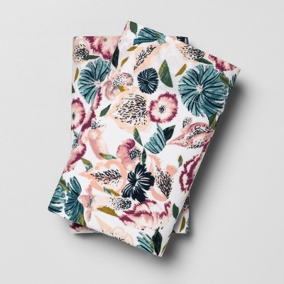 Standard Printed Pattern Easy Care Percale Cotton Pillowcase Set Floral - Opalhouse™