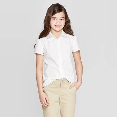 Girls' Uniform Woven Short Sleeve Button-Down Shirt - Cat & Jack™ White
