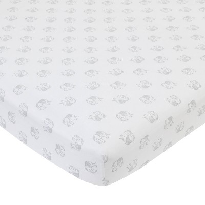 NoJo Serendipity Gray Elephant Print Cotton Fitted Crib Sheet