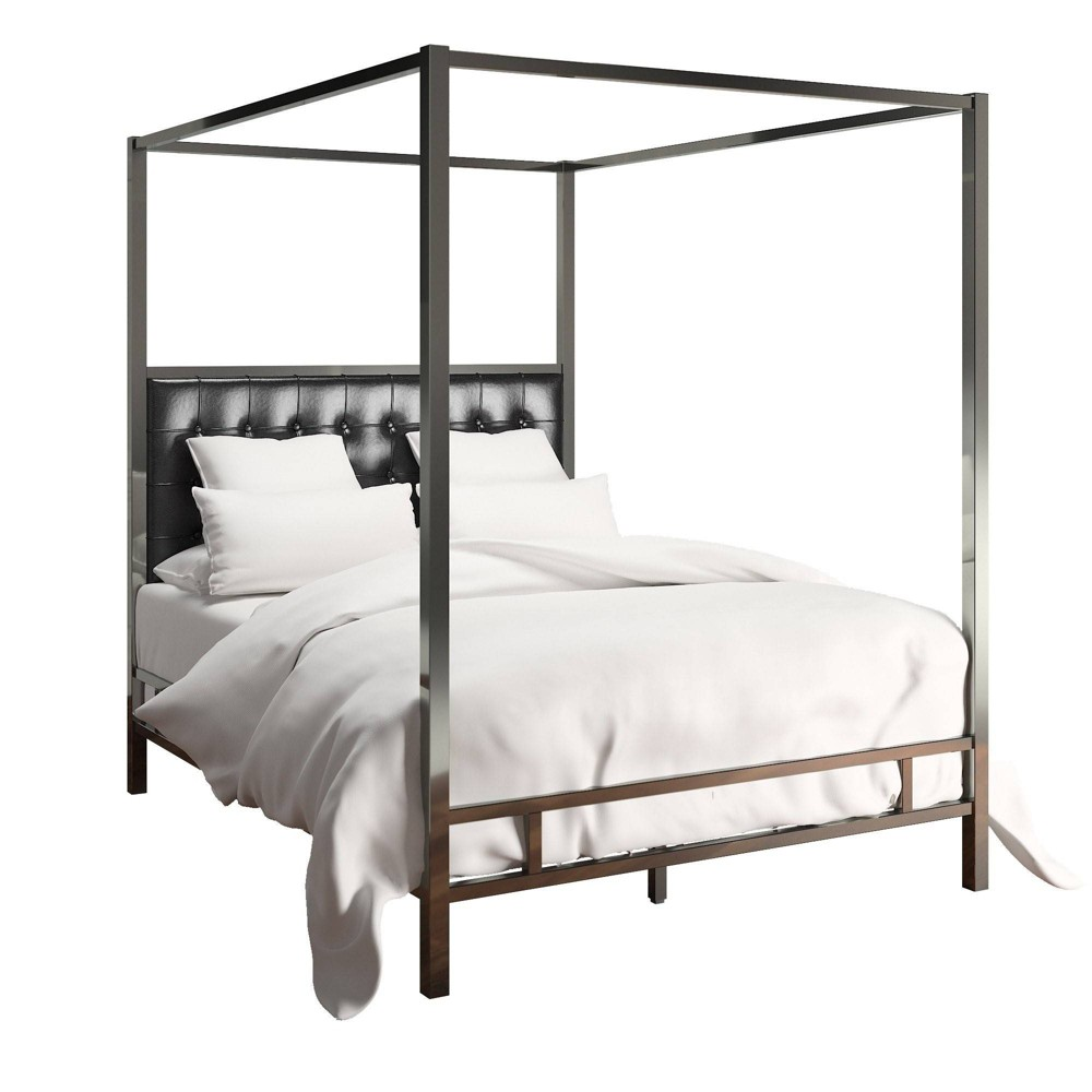 Full Manhattan Nickel Canopy Bed with Biscuit Tufted Headboard Black - Inspire Q