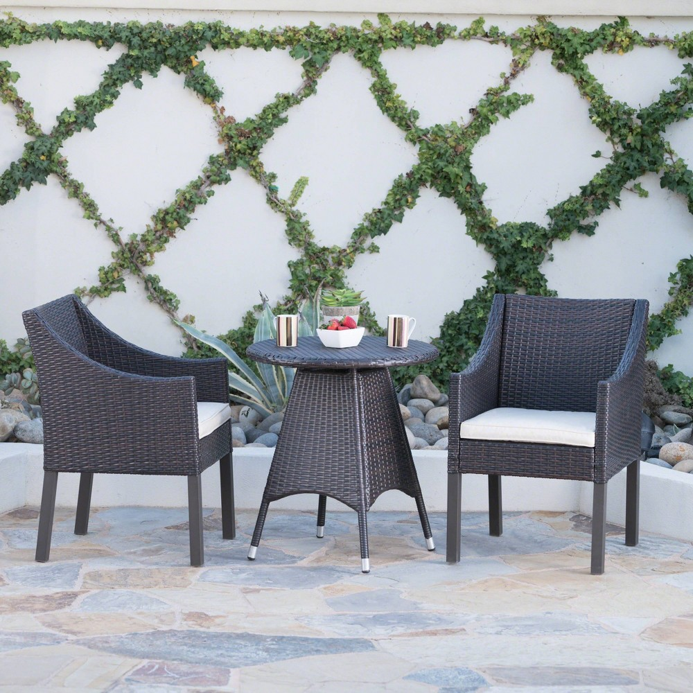 Franco 3pc Wicker Dining Set - Brown - Christopher Knight Home