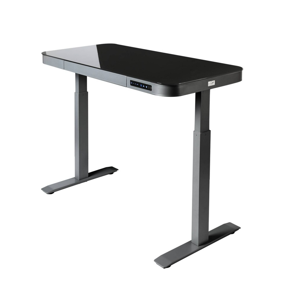 "Image of ""47"""" Tempered Glass Electric Height Adjustable Sit/Stand Desk with 2 USB Ports and Drawer Gray - Seville Classics"""