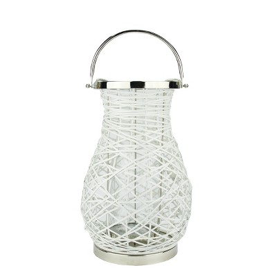 "Northlight 16.25"" Modern White Decorative Woven Iron Pillar Candle Lantern with Glass Hurricane"