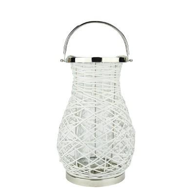 "Northlight 16.25"" Modern White Decorative Woven Iron Pillar Candle Lantern with Glass Hurricane"