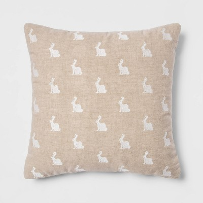 Square Washed Bunny Easter Pillow Neutral/Cream - Threshold™