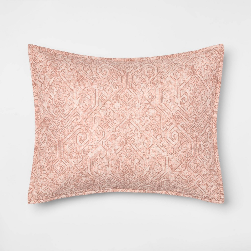 Standard Family Friendly Medallion Pillow Sham Pink - Threshold was $20.0 now $10.0 (50.0% off)