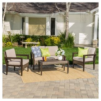 Croatia 4pc All-Weather Wicker Patio Chat Set - Brown - Christopher Knight Home