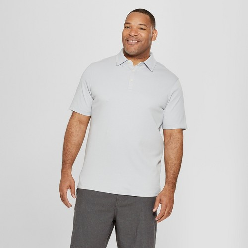 petiteMen's Tall Short Sleeve Elevated Ultra-Soft Polo Shirt - Goodfellow & Co Masonry Gray MT, Size: Small