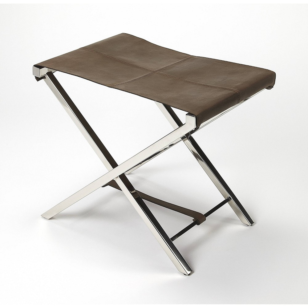 Matteo Leather & Metal Folding Stool Brown - Butler Specialty