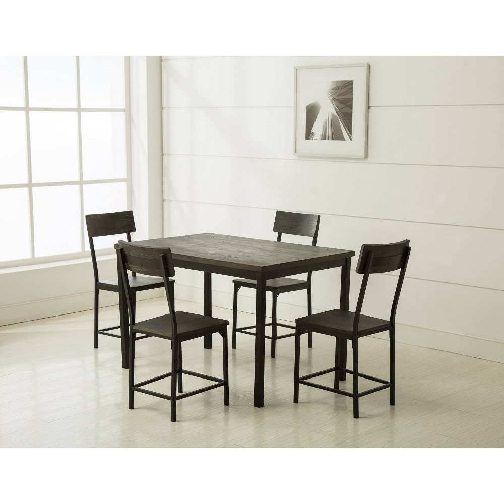 5pc Americano Dining Set Walnut Finish Distressed Black - Boraam, Gray