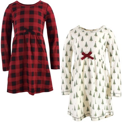 Touched by Nature Big Girls and Youth Organic Cotton Long-Sleeve Dresses 2pk, Tree Plaid
