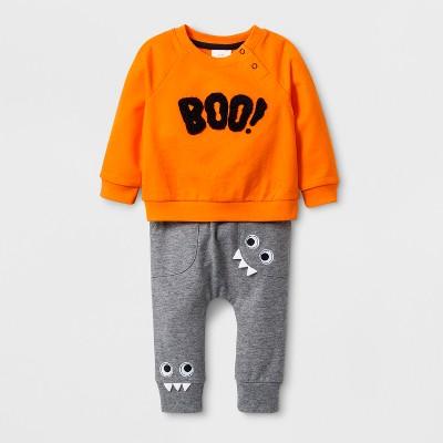 Baby Boys' French Terry Sweatshirt and Joggers Set - Cat & Jack™ Orange 18M