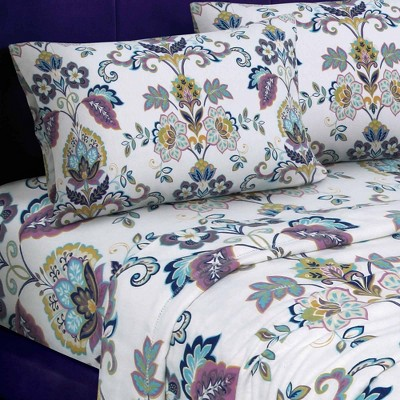 Queen Printed Pattern Extra Deep Pocket Flannel Sheet Set Abstract Paisley - Tribeca Living