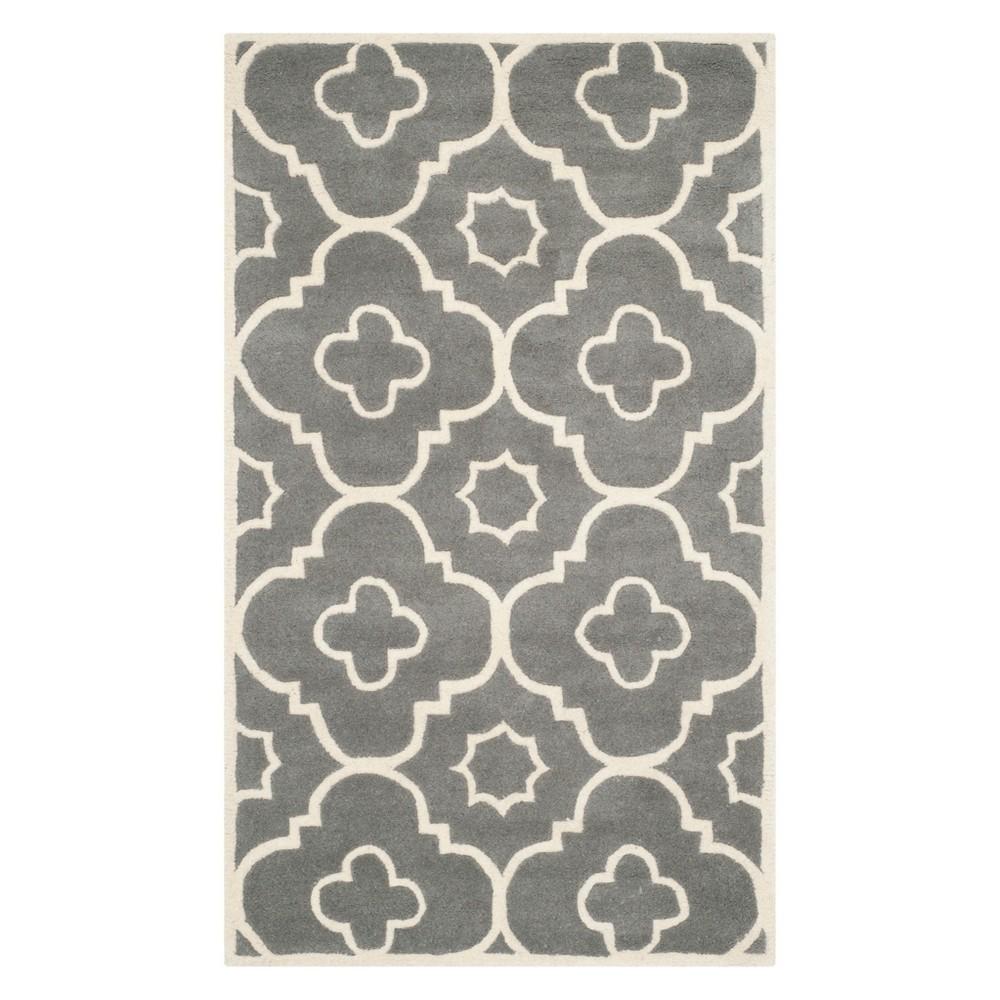 3'X5' Geometric Accent Rug Dark Gray/Ivory - Safavieh