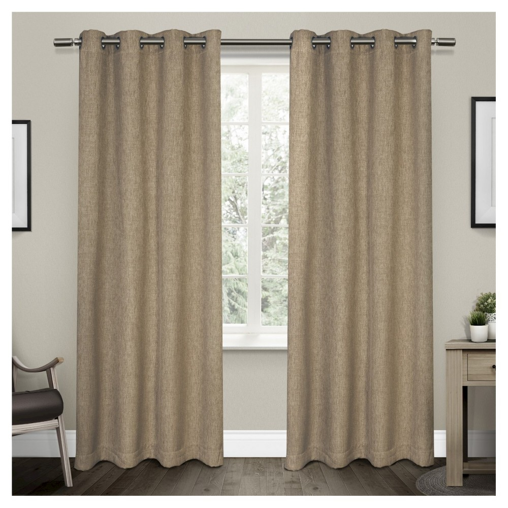 Vesta Heavy Textured Linen Woven Room Darkening Grommet Top Window Curtain Panel Pair Natural (52