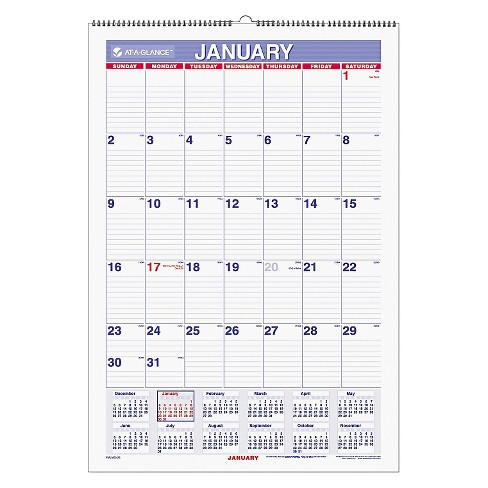 AT-A-GLANCE® Erasable Wall Calendar 15 1/2 x 22 3/4 White 2018 - image 1 of 1